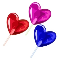 Three lollipops in the shape of heart vector image