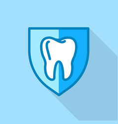 tooth on shield logo icon flat style vector image