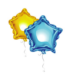 two realistic 3d foil balloons in the shape of a vector image
