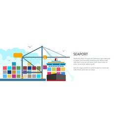 Unloading containers from a cargo ship banner vector
