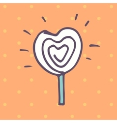 Valentines Day lollipop flat icon vector image