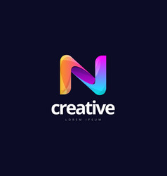 vibrant trendy colorful creative letter n logo vector image