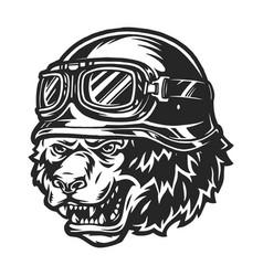 Vintage monochrome aggressive bear biker head vector