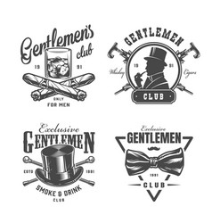vintage monochrome gentleman labels set vector image