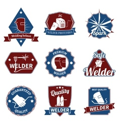 Welder labels set vector