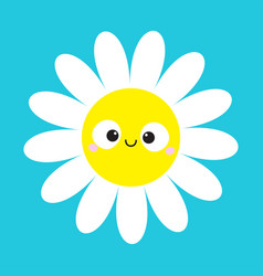 White daisy chamomile with smiling face head cute vector