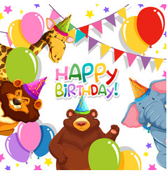 wild animal in birthday template vector image