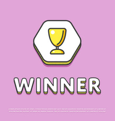 Winner colour icon with trophy cup vector