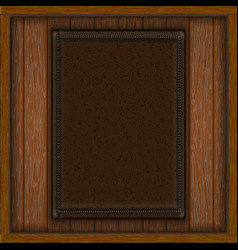 Wooden background leather insert vector