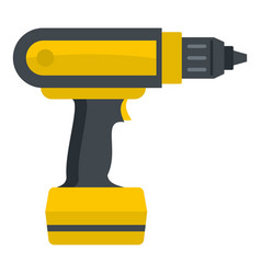 Yellow electric screwdriver drill icon isolated vector
