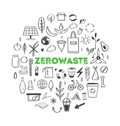 zero waste lifestyle hand drawn set vector image