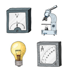 Ammeter or voltmeter microscope and light bulb vector