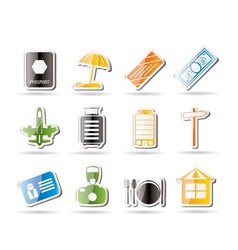 simple travel and holiday icons vector image