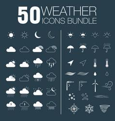50 weather icons bundle vector image