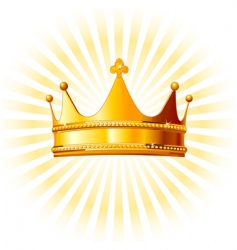 golden crown on glowing background vector image