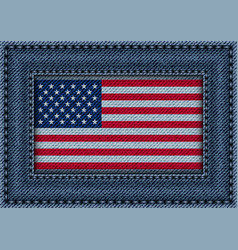 jeans frame with flag of usa vector image vector image