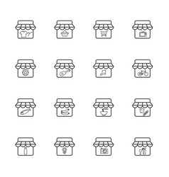 market and shop icon set vector image