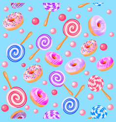 Seamless sweet fruit donuts candy vector