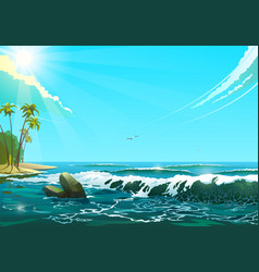 seascape in sunny day of sea vector image vector image