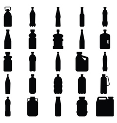 Set of silhouettes of plastic bottles and other co vector image vector image
