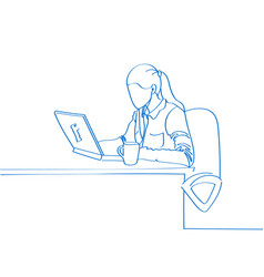 young hand drawn woman sitting in a chair and work vector image vector image