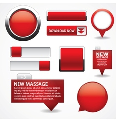 Blank red web buttons for website or app vector image vector image