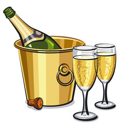 champagne bottle in bucket vector image vector image