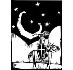 Knight beneath crescent moon vector image