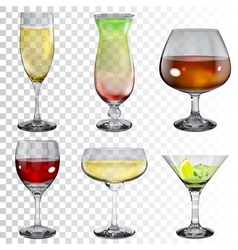Set of transparent glass goblets vector image vector image