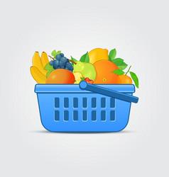 Shopping Basket with Fresh Fruit vector image