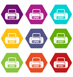 sports bag icon set color hexahedron vector image vector image