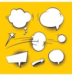 Comic cartoon speech bubbles with halftone shadows vector image