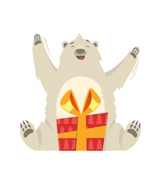 flat style of white bear with gift vector image vector image