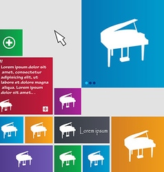 Grand piano icon sign buttons modern interface vector