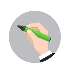 hand holds the marker vector image vector image