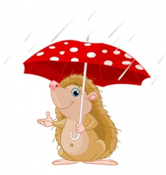 hedgehog under umbrella vector image vector image