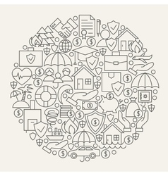 Insurance Services Line Icons Set Circle vector image