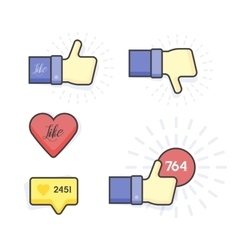 Modern Set of thumb up and like icons vector image