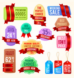 sale and discount price tags ribbon banners with vector image