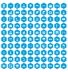 100 landscape element icons set blue vector image