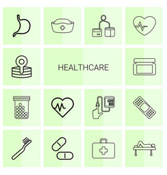 14 healthcare icons vector image