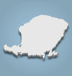 3d isometric map lombok is an island vector