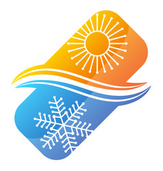 air conditioner symbol with sun and snowflake vector image