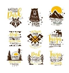 Alaska National Park Promo Signs Series Of vector image