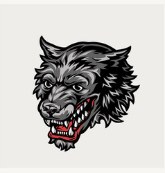 Angry wolf head colorful concept vector