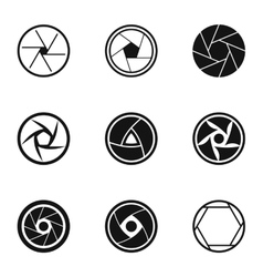 Aperture of camera icons set simple style vector