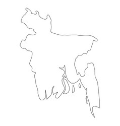 Bangladesh - solid black outline border map of vector