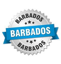 Barbados round silver badge with blue ribbon vector image