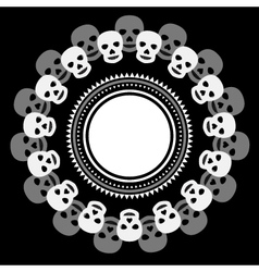 Black and white ethnic round frame with skulls vector image