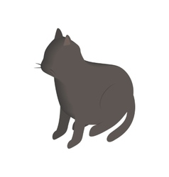 Black cat isometric 3d icon vector